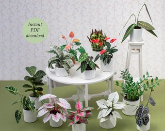 Miniature Houseplants III - for Doll House Scale 1:12 (and more) - 12 different plants  - PDF printable to download