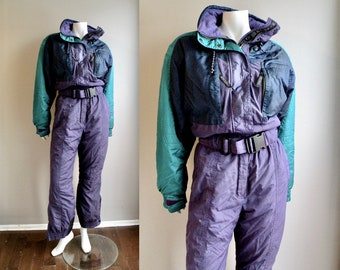 80s One Piece Snowsuit Ski Suit Purple Lavender White and Turquoise Onesie  Jumpsuit - L 12ccf96ff