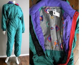 baddad6ea 80s One Piece Snowsuit Ski Suit Purple Blue and Turquoise Onesie Jumpsuit -  L