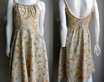 60s Hawaiian Sun Dress Yellow Floral, Low Back and Ruching - S M