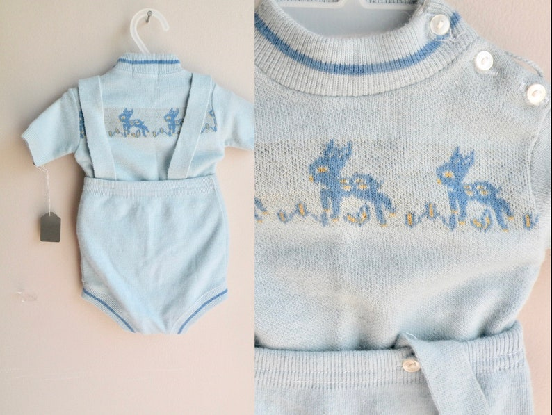 e9c9d5f74 50s Baby Boy Sweater and Overall Shorts Set Shortalls with | Etsy