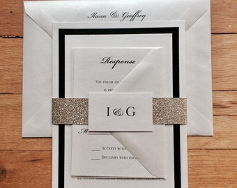 Ilana & Geoffrey// Ivory, Black and Gold Glitter Wedding invitation