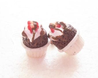 Chocolate Souffle Earrings. Polymer Clay.