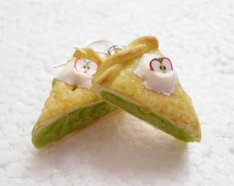 Apple Pie Earrings. Polymer Clay.