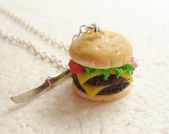 Cheeseburger Pendant.  Polymer clay