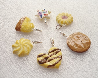 Cookies Stitch Markers.  Set of 6. Polymer Clay.