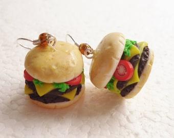 Cheeseburger Earrings . Polymer clay.