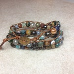 Leather and Gemstone Wrap Bracelet, 'Cabin at the Lake', Multi Gemstone Wrap Bracelet, Neutral Wrap Bracelet