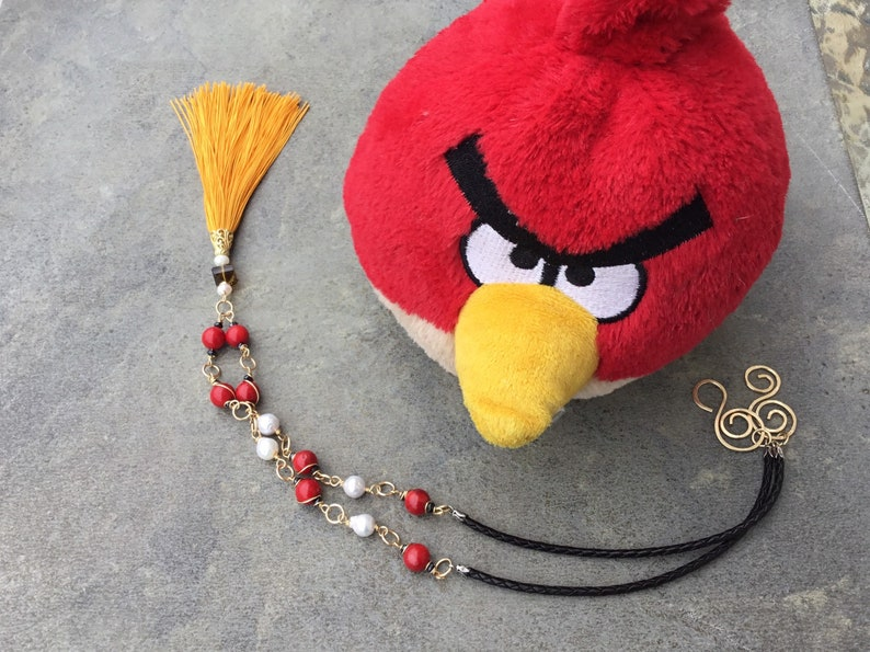 Coral and Pearl Tassel Necklace,/'Angry Bird/',Gemstone Tassel Necklace,Long Tassel Necklace,Red Coral Tassel Necklace,Baroque Pearl Necklace