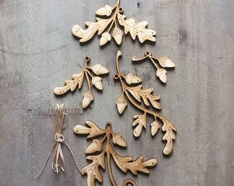 Make your Own - A set of Natural Oak Leaf and Acorn Decorations to Make Yourself   Free U.K. Delivery