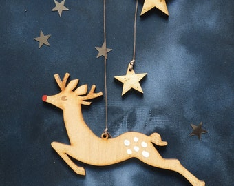 Flying Rudolf Hand Painted Birchwood Christmas Decoration with Free U.K. Delivery