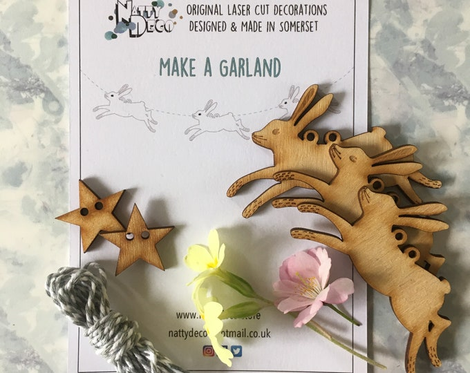 Featured listing image: Make a Garland - Seven Mini Birchwood Hares complete with instructions and thread