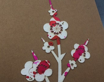 Limited Edition Paper Cuts - Set of 3 Hand Coloured Cherry Blossom Cards with Free U.K. delivery