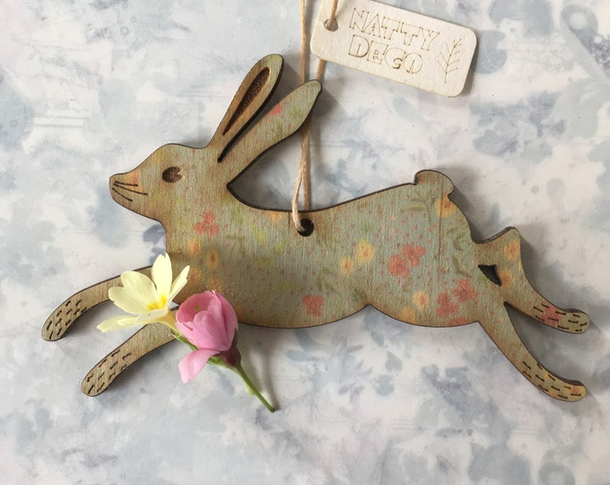 Featured listing image: A Little Printed Birchwood Hare Decoration