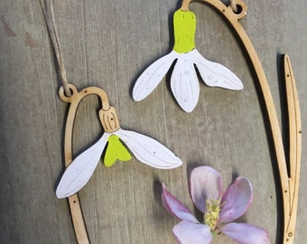 Wooden Flowers. A Pair of Beautiful Hand Painted Snowdrop Decorations with Spring Green Highlights