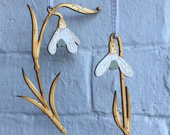 Wooden Flowers - Hand Painted Birchwood Snowdrops