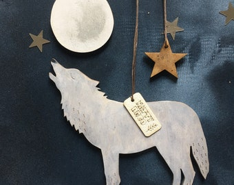 Call of the Wild - The Wolf and the Moon. Hand painted Birchwood Decorations with Free U.k. Delivery