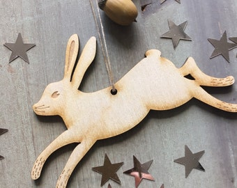 A lovely Laser Cut Birchwood Hare Decoration
