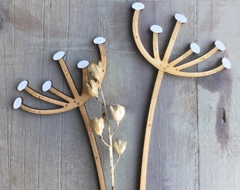 Seed Heads - A Pair of Hand Painted  Birchwood Cow Parsley Stems
