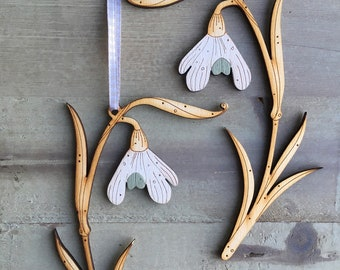 Two Hand Painted Birchwood Snowdrops