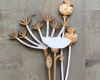 Wooden Flowers. Beautiful Hand Painted Birchwood Flowers - Cow Parsley Stem with Poppies in Classic Scandi White