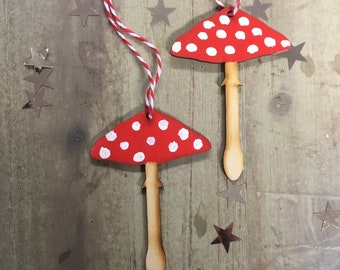 A Pair of Festive Spotty Toadstool Decorations