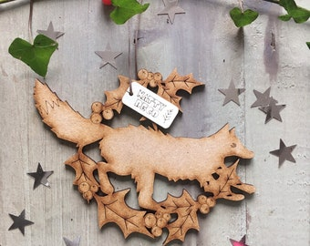 Lovely Laser Cut Fox Yuletide Decoration