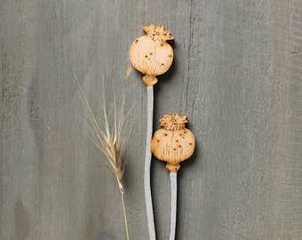 Seed Heads  - Hand Painted Birchwood Poppy Seed Heads