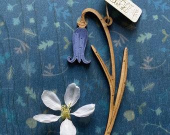 Wooden Flowers. Beautiful Hand Painted Birchwood Flowers - A Single Mini Bluebell Drop
