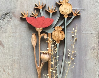 Hand Painted Wooden Flowers - Cow Parsley with Poppies