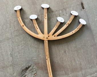 Wooden Seed Heads - Hand Painted Birchwood Cow Parsley Stem in Scandi White