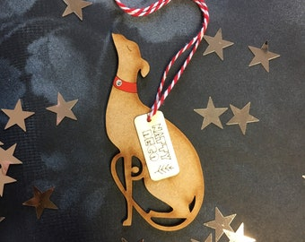 Sweet Little Whippet Decoration  with real Swarovski Crystal Collar Free U.K. Shipping