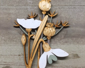 Hand Painted Wooden Flowers - Cow Parsley with Poppies and Snowdrop