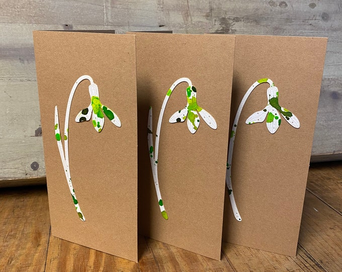 Featured listing image: Limited Edition Paper Cuts - A Set of 3 Hand Coloured Snowdrop Cards with Free U.K. delivery