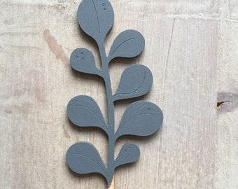 Wooden Flowers. Beautiful Hand Painted Birchwood Flowers - A Leafy Eucalyptus Stem in Soft Slate