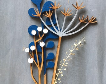 Hand Painted Flowers - Cow Parsley, Berries and Leaf
