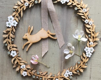 PRE ORDER ONLY - A Beautiful Hand Painted Birchwood Floral Wreath in White /Sage Green with Attachable Hare