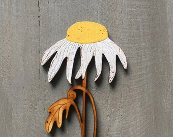 Wooden Flowers - a Hand Painted Birchwood Daisy