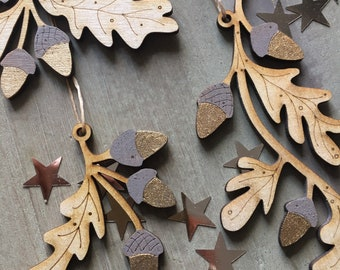 Three Gorgeous Gilded Oak Leaf and Acorn Hanging Decorations