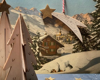 A  Cute Festive Set - Two Pop - Up Fir Trees with a Mini Shooting Star