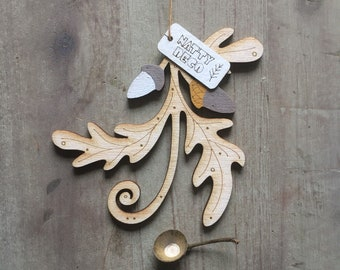 A Single Autumn Themed Oak Leaf and Acorn Hanging Decoration  in French Ochre Free U.K. Delivery