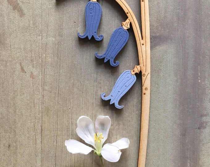 Featured listing image: Wooden Flowers. Beautiful Hand Painted Birchwood Flowers - A Single Bluebell Stem in Soft Inky Blues