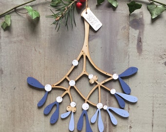 A Beautiful Bunch of Hand Painted Birchwood Mistletoe in Soft Inky Blues