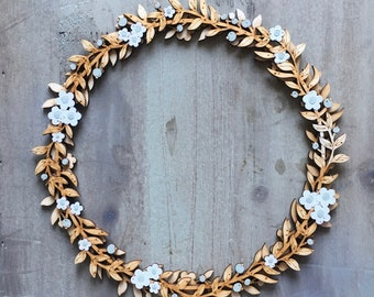 Beautiful Hand Painted Floral Wreath in White /Sage Green