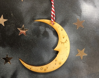 Sleepy Moon Decoration in Natural Birchwood Finish with Free U.k. Delivery
