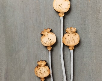 Seed Heads  -Hand Painted Birchwood Poppy Seed Heads
