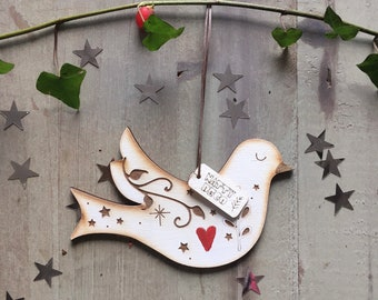 Pretty Hand Painted Dove Decoration