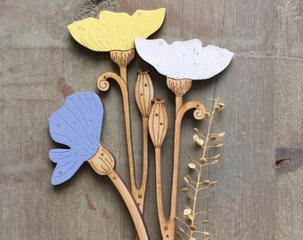 Wooden Flowers. Beautiful Hand Painted Birchwood Flowers - A Trio of Poppies in Soft Spring Colours