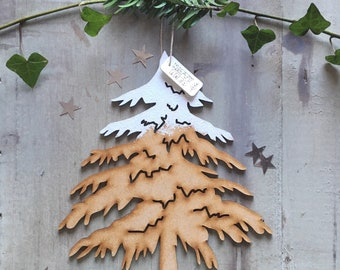Oh Christmas Tree! Pretty Snowy Fir Tree Decoration with Free U.K. Delivery