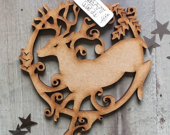 A Beautiful Laser Cut Deer Yuletide Decoration with Free U.K. Delivery